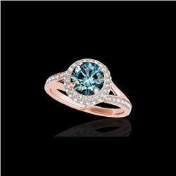 1.85 ctw SI Certified Fancy Blue Diamond Halo Ring 10K Rose Gold