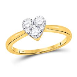 10kt Yellow Gold Round Diamond Heart Cluster Ring 1/2 Cttw