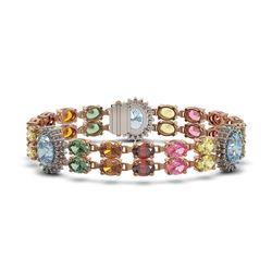 33.79 ctw Sapphire & Diamond Bracelet 14K Rose Gold