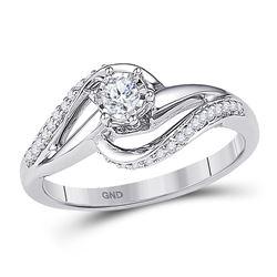 10kt White Gold Round Diamond Solitaire Swirl Bridal Wedding Engagement Ring 1/5 Cttw