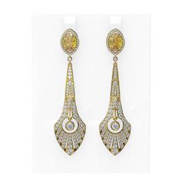 8.55 ctw Canary Citrine & Diamond Earrings 18K Yellow Gold
