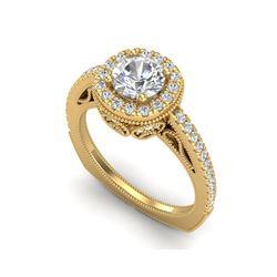 1.55 ctw VS/SI Diamond Solitaire Art Deco Ring 18K Yellow Gold