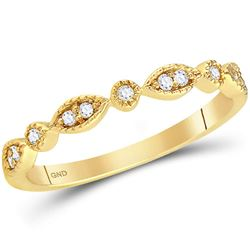 14kt Yellow Gold Round Diamond Classic Stackable Band Ring 1/10 Cttw