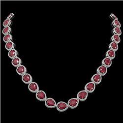 64.01 ctw Ruby & Diamond Micro Pave Halo Necklace 10K White Gold