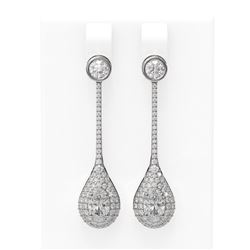 3.81 ctw Oval Diamond Earrings 18K White Gold