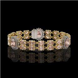 17.3 ctw Morganite & Diamond Bracelet 14K Yellow Gold