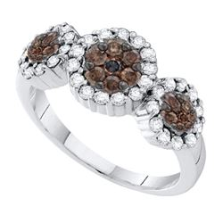 14kt White Gold Round Yellow Color Enhanced Diamond Triple Flower Cluster Ring 1/2 Cttw