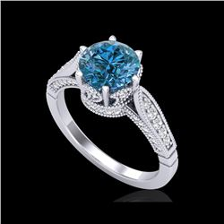 2.2 ctw Intense Blue Diamond Engagement Art Deco Ring 18K White Gold
