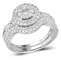 14kt White Gold Round Diamond Bridal Wedding Engagement Ring Band Set 7/8 Cttw