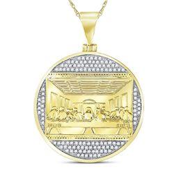 10kt Yellow Gold Mens Round Diamond Last Supper Religious Charm Pendant 1/2 Cttw