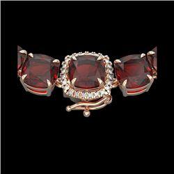 87 ctw Garnet & Diamond Micro Eternity Necklace 14K Rose Gold