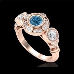 1.51 ctw Intense Blue Diamond Art Deco 3 Stone Ring 18K Rose Gold