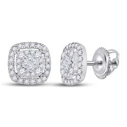 14kt White Gold Princess Diamond Cushion Cluster Earrings 1/2 Cttw