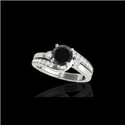 1.75 ctw Certified VS Black Diamond Bypass Solitaire Ring 10K White Gold