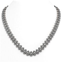 28.47 ctw Pear Cut Diamond Micro Pave Necklace 18K White Gold