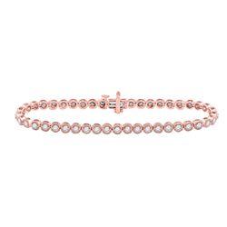 14kt Rose Gold Round Diamond Milgrain Tennis Bracelet 2.00 Cttw