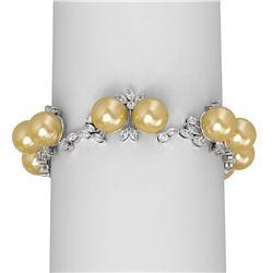 8.82 ctw Diamond and Pearl Bracelet 18K White Gold
