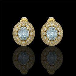 7.24 ctw Aquamarine & Diamond Victorian Earrings 14K Yellow Gold