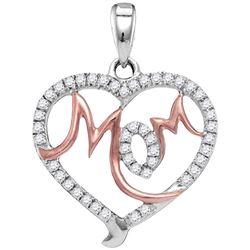 10kt White Gold Round Diamond Mom Mother Heart Pendant 1/3 Cttw