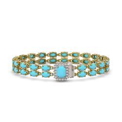 20.36 ctw Turquoise & Diamond Bracelet 14K Yellow Gold