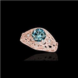 1.36 ctw SI Certified Blue Diamond Solitaire Antique Ring 10K Rose Gold