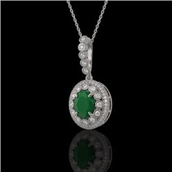4.67 ctw Certified Emerald & Diamond Victorian Necklace 14K White Gold