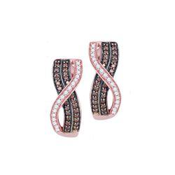 10kt Rose Gold Round Brown Diamond Vertical Crossover Stripe Hoop Earrings 1/2 Cttw