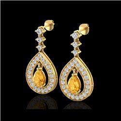 2.25 ctw Citrine & Micro Pave VS/SI Diamond Earrings 14K Yellow Gold