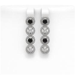 4.52 ctw Black & Diamond Micro Pave Earrings 18K White Gold