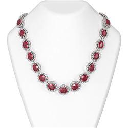 104.42 ctw Ruby & Diamond Necklace 18K White Gold