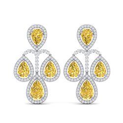 27.85 ctw Canary Citrine & VS Diamond Earrings 18K White Gold