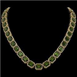 80.65 ctw Tourmaline & Diamond Micro Pave Halo Necklace 10K Yellow Gold