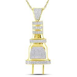 10kt Yellow Gold Mens Round Diamond Electric Plug Socket Charm Pendant 1/2 Cttw