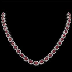 34.11 ctw Ruby & Diamond Micro Pave Halo Necklace 10K White Gold