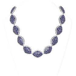108 ctw Sapphire & Diamond Necklace 18K White Gold