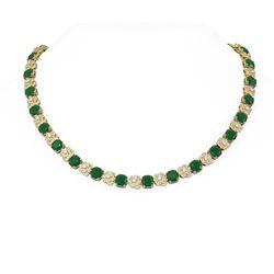 65.1 ctw Emerald & Diamond Necklace 18K Yellow Gold