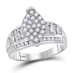 10kt White Gold Round Diamond Oval Cluster Bridal Wedding Engagement Ring 1/2 Cttw