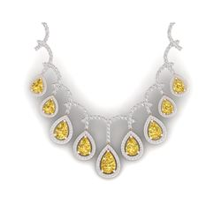 29.42 ctw Canary Citrine & VS Diamond Necklace 18K Rose Gold