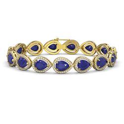 30.06 ctw Sapphire & Diamond Micro Pave Halo Bracelet 10K Yellow Gold