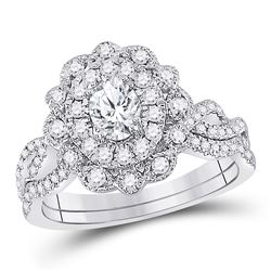14kt White Gold Oval Diamond Twist Bridal Wedding Engagement Ring Band Set 1.00 Cttw