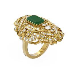 7.38 ctw Emerald & Diamond Ring 18K Yellow Gold