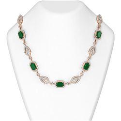 53.7 ctw Emerald & Diamond Necklace 18K Rose Gold