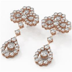 6.5 ctw Pear Cut Diamond Designer Earrings 18K Rose Gold