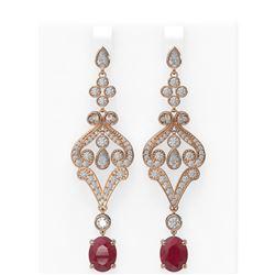 11.15 ctw Ruby & Diamond Earrings 18K Rose Gold