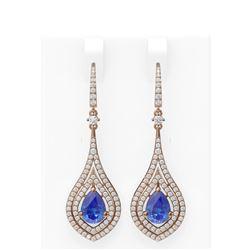 10.35 ctw Tanzanite & Diamond Earrings 18K Rose Gold