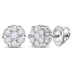 14kt White Gold Round Diamond Flower Cluster Earrings 1/4 Cttw