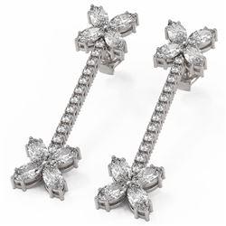 4.42 ctw Marquise Diamond Designer Earrings 18K White Gold