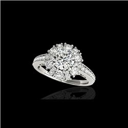 2.16 ctw Certified Diamond Solitaire Halo Ring 10K White Gold