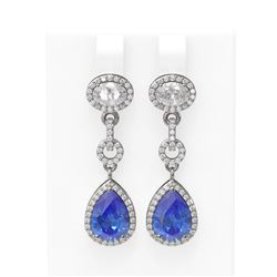 7.82 ctw Tanzanite & Diamond Earrings 18K White Gold