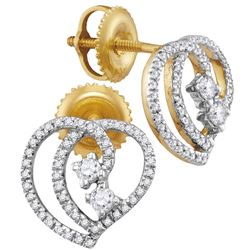 10kt Yellow Gold Round Diamond 2-stone Heart Earrings 1/4 Cttw